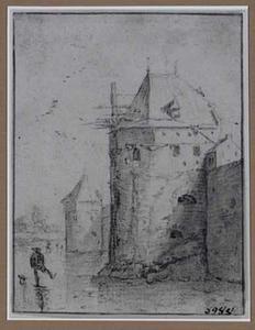 Schaatser op de Utrechtse Stadsbuitengracht bij de waltorens De Beer en De Vos