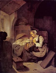 Interieur met moeder en kind