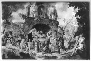 De ontmoeting van Rebecca en de dienaar van Abraham bij de bron van Nahor (Gen. 24:14-21)