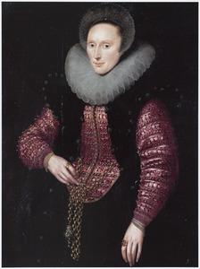 Portret van een vrouw met een plooikraag en boogjesmuts