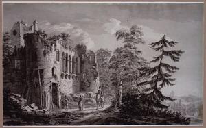 Soldaten bij een vervallen kasteel