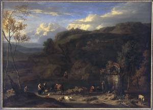 Landschap met herders en hun dieren bij een rivier