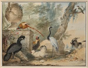 Vogels in een parkachtig landschap; in de achtergrond een landhuis