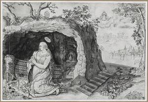Biddende kluizenares bij een grot