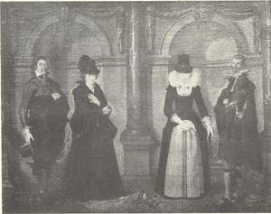 Groepsportret van twee paren staand voor een colonnade