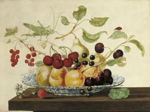 Porseleinen schaal met vruchten, sabelsprinkhaan en lieveheersbeestje op een houten blad
