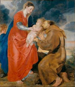 De Heilige Franciscus van Assisi ontvangt het Christuskind uit handen van Maria