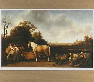 Landschap met een paard, koeien en schapen en een herder en melkmeid in gesprek