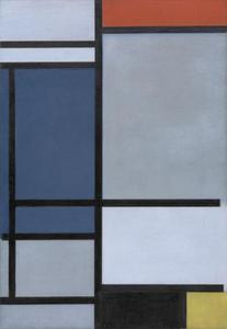 Composition with red, blue, black, yellow and gray