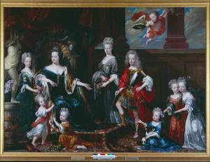 Groepsportret van Henriette Amalia van Anhalt-Dessau (1666-1726) en haar kinderen