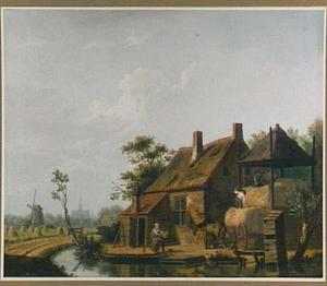 Boerderij met hooi optastende knechten; op de achtergrond de St. Bavo in Haarlem