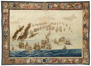 De Royal James vernietigd door brand tijdens de Slag om Solebay, 1672