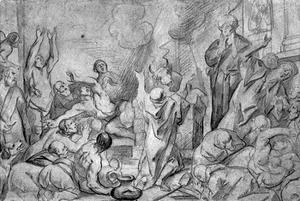 De priesters van Baäl dansen van 's morgens tot 's middags luid zingend vruchteloos rond hun offer aan Baäl  (I Koningen 18:26-29)