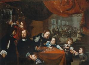 Portret van de juwelier Dionysio Miseroni (1607-1661) met zijn gezin