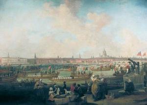 De processie van Lord Mayor over water naar Westminster, Londe, 9 november 1789