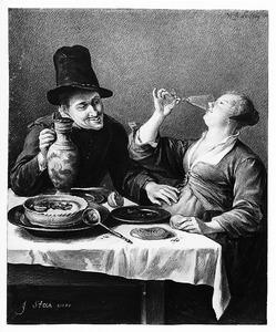 Amoureus paar, etend en drinkend