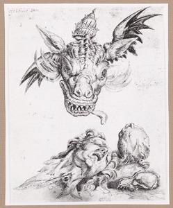 Drakenkop met tiara, hoofd en dierenschedel