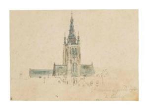 Klokkentoren en dak van de Saint-Martin in Kortrijk