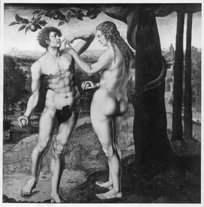 De zondeval: Adam en Eva met de appel in de hand  (Genesis 3:6)