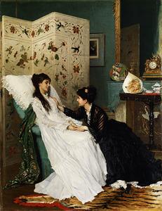 Een zieke jonge vrouw vertroost door een vriendin