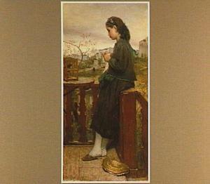 Breistertje op balcon te Montmartre, Parijs