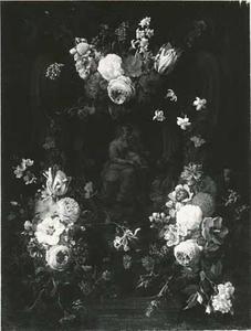 Cartouche met bloemfestoenen rondom een voorstelling van de maagd Maria met het Christuskind