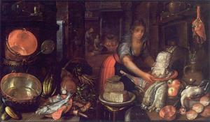 Keukenstuk met een keukenmeid en haar aanbidder