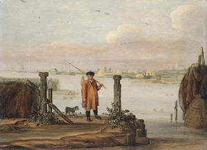 Rivierlandschap met een visser op de kade