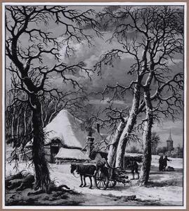 Winterlandschap met houtsprokkelaars bij boerderij