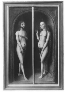 Eva tracht Adam te verleiden het fruit te eten  (Genesis 3:6)