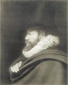 Portret van een man met cape en hoge hoed