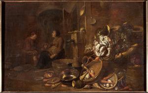 Stalinterieur met een man en vrouw bij een stilleven van groenten en vaatwerk
