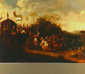 Jozef begroet zijn vader en zijn broers te Gosen (Genesis 46:29)