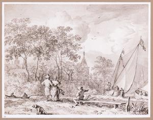 Landschap met figuren bij een rivier met zeilboten
