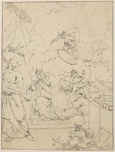 Allegorie: knielende paus voor een spiegel aangevallen door de Deugd (?)