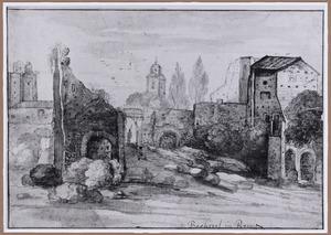 Rome, de Orti Farnesiani en de resten van het Domus Flaviorum op de Palatijn, op de achtergrond de Torre delle Milizie