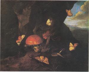 Bosstilleven met paddestoelen, slang en vlinders