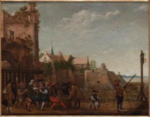 Vrolijk gezelschap bij de Utrechtse stadsmuur met van links naar rechts de Servaastoren, de toren van de Servaasabdij en het bastion Zonnenburg
