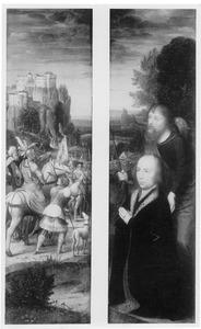 De kruisdraging (fragment, rechts); De H. Jacobus de Meerdere met een stichter (links)