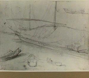 Studie van zeilschip en bootjes