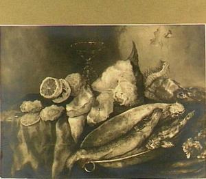 Visstilleven met venetiaans glas en citroen