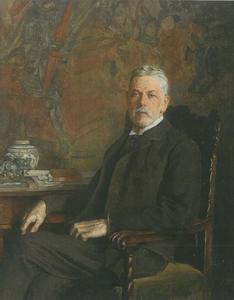 Portret van Heinrich von Liebieg, grootindustriëel, kunstverzamelaar en mecenas in Wenen, Frankfurt am Main en Reichenberg/Liberec