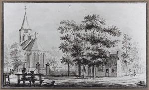 Gezicht op de kerk aan de Kerkbrink in Hilversum vóór de brand in 1765