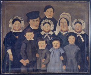 Portret van Johannes Fransiscus d' Haens (1813-1879), Maria Petronella Buijsrogge (1820-1885) en hun kinderen