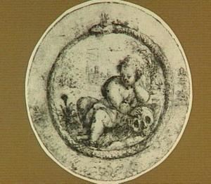 Ontwerp voor een embleem met een allegorische voorstelling met Cupido, een schedel en een slang die in zijn staart bijt