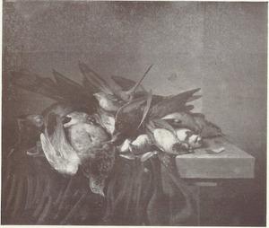 Een duif en andere dode zangvogels op een deels gedekte stenen tafel
