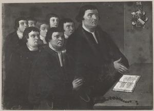 Portret van Jacob Jacobsz. Oem (....-1524) en zijn zeven zoons