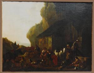 Zuidelijk landschap met rustende jagers bij een herberg (de vrouw in het midden is gekleed in mannenkleren)