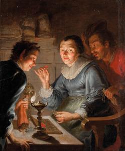 Een geldwegende oude vrouw: allegorie op de Gierigheid