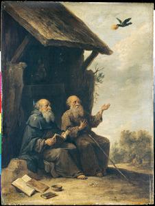 Heilige Antonius en Paulus, zittend langs de weg